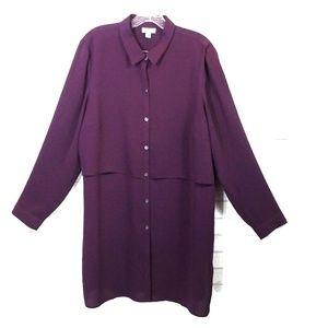 J. Jill button down purple tunic blouse size L